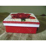 Caixa De Joias Em Mdf Na Cor Rosa Vermelha