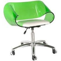 Cadeira Acrílica Envelope Base Office Alumínio Com Rodízios