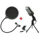 Microfone Condensador Sf-920 + Pop Filter Podcast Studio Xlr