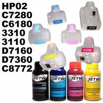 Recarregável Hp02 C7280 C6180 3310 3110 D7160 D7360 + Tinta