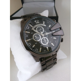 Relógio Masculino Analóg. Aço Preto Grande Stilo Dizel.