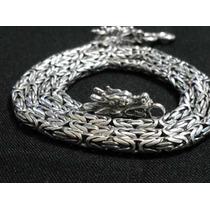 Corrente De Bali Ponto Peruano 3mm Prata 925 Fecho/dragão