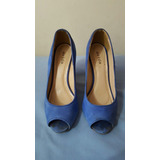 Sapato Feminino Peep Toe Salto Alto Azul Ávida