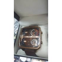 Relógio Diesel Quadrado Dz4692 Marrom Pulseira Couro Novo