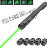 Caneta Laser Pointer 300 Mw + 5 Ponteiras Efeito Green Verde