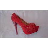 Sapato Feminino Peep Toe Vermelho Do 34 Ao 39