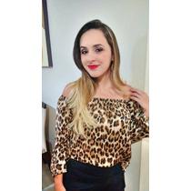 Blusas Animal Print Leopardo Hombros Descubiertos