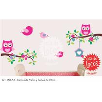 Vinilo Decorativo Búhos Y Pájaros, Ramas De Árbol Y Rosas