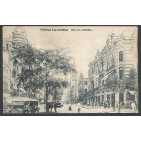 Cartão Postal Antigo Avenida Rio Branco Rio De Janeiro
