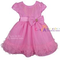 Vestido De Festa Infantil Peppa Pig Luxo Com Tiara De Brinde