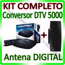 Kit Conversor Tv Digital Aquario Dtv 5000 + Antena Interna