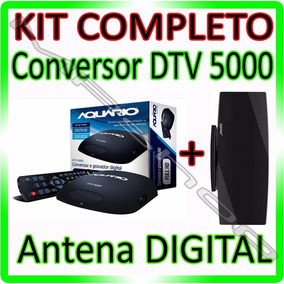 Kit Conversor Tv Digital Aquario Dtv 5000 + Antena Interna