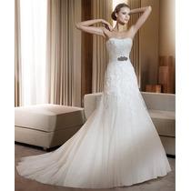 Vestido De Noiva Pronovias Flauta Branco Renda/tule Lindo 38