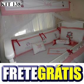 Kit Berço Personalizados 9 Pçs Gata Marie Rosa