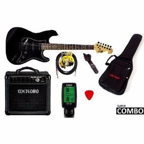 Kit Guitarra Memphis Mg-32 Bk + Cubo Meteoro + 5 Acessórios