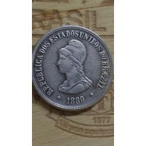 1000 Réis De 1889 Cobre Banhada A Prata
