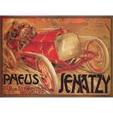 Cartaz Poster Vintage Corrida De Carro Antigo Pneus Europa