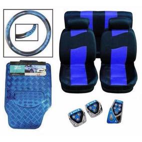 Kit Azul Capa Automotiva Tapetes Pedaleiras E Capa Volante