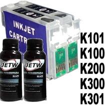 Kit 2 Cartucho Recarregável K101 K100 K200 K300 K301 + Tinta