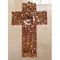 Cruz Madera Con Padre Nuestro Y Rostro Jesucristo 40cm/3mm