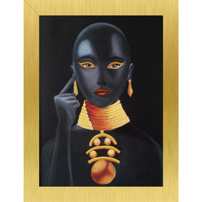 Cuadro Decorativo Pintura Al Oleo Africana