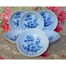 Juego 6 Compoteras Porcelana Verbano Vanna Flores Azules