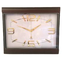 Reloj Mural Cuadrado Numeros Dorados Estilo Madera