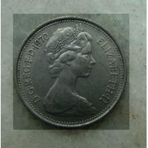 Moeda Inglaterra 5 Pence Elizabeth Ll Níquel 1970