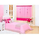 Cobre Leito + Cortina Maria Claria Rosa Pink Percal 180 Fios