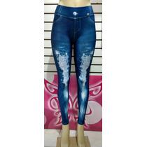 Calça Legging Jeans Rasgado, Legigin Academia Imita Geans
