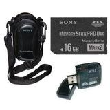 Cartão Memória Sony Pro Duo 16gb+ Leitor + Bolsa P/ Dsc-w350