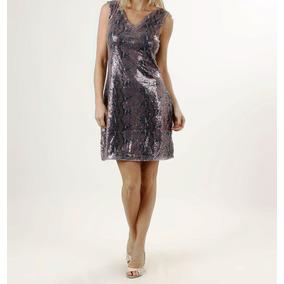 Vestido Paetes, Estampa Animal, Grife, Luxo - M=105 Cm Busto