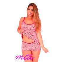 Kit 4 Baby Doll Short Doll Liganete Estampado Pijama Verão