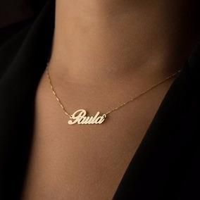 Corrente Feminino Nome Personalizado Folheado A Ouro 18k