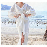 Blusa Feminina Branca Manga Três Quarto Gola V Laço Cintura