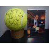 Autografiada!! Pelota Tenis Grande Firmada Por Roger Federer