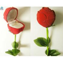 Nicaya Anel Cálice Solitário Ouro 18k + Caixa Flor Rosa