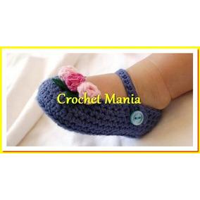 Zapatos Tejidos A Crochet Para Niñas 0-12 Meses