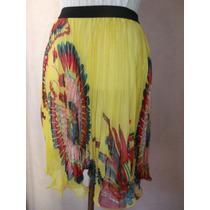 Falda Color Amarillo Talla S/m Tablas Lindo Estampado Nuevo