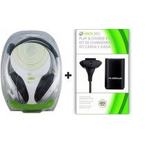 Kit Xbox 360 Fone Headset + Bateria 10.000mah Carregador