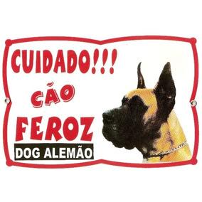 Placa Cão Dog Alemão Resistente. Fixação Obrigatória Por Lei