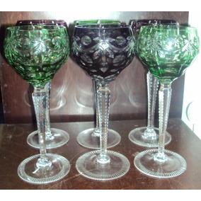 6 Copas De Cristal De Baccarat De Color Lila Y Verde (1775)