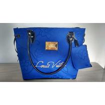 Bolsa Feminina Louis Vuitton Azul Com Zíper E Forrada.