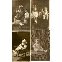 Lote X 4 Foto Postal Estudio Infantil C1930 Bebe Niñas