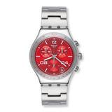 Reloj Hombre Swatch Ycs-438g Rojo Original 100% Acero