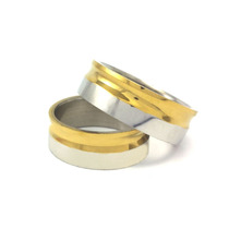 Par Aliança Compromisso Noivado Aço Inox Prata E Dourado 8mm