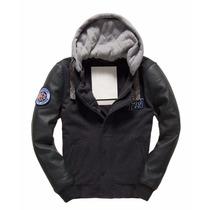 Chamarra Piel Y Paño Superdry Comet Jacket Excelente!!!...