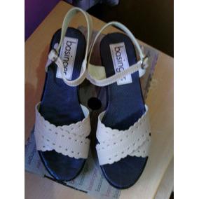 Sandalias Color Crema Suela Plataforma Comoda Talla 38