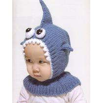 Gorro Tejido Para Bebé En Forma De Un Adorable Tiburón