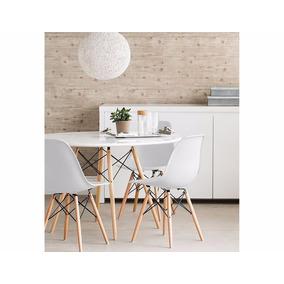Kit Jogo Mesa Jantar Redonda Eiffel + 4 Cadeiras Eames Wood